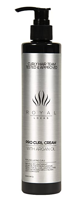 Curly Hair Cream Gel by Royal Locks w/ Argan Oil. CURLY HAIR TEAM TESTED AND APPROVED. STOP USING MULTIPLE CURLY HAIR PRODUCTS! 2 in 1 Max Hold and Leave in Conditioner. Better than Hair Gel ! Lightweight, Versatile, and Perfect for Waves to Ringlets, Short to Long Hair, Men, Women, and Kids too! Light Clean Scent. Long Lasting Anti-Frizz. Large Size in Pump Bottle for easy use!Love your curls again.