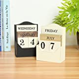 CAVEEN Vintage Wooden Block Perpetual Calendar Desk Accessory Retro Chic Rustic Any Year / Month / Day Block Calendar For Home Office Decoration Black (Color: Black)