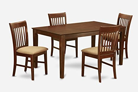 East West Furniture CANO5-MAH-C 5-Piece Dining Table Set