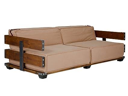 massivum Sofa Fairview 190x65x90 cm Flachgewebe-Stoff creme