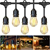 JUSLIT Outdoor String Lights, 48Ft LED Patio Christmas String Light, 16 Edison Bulbs, 15 Hanging Sockets, UL Listed Waterproof lighting for Decorative Café Garden Yard Bistro Pergola Wedding Party