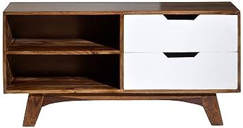 Sit-Möbel 7715-10 bajo Sixties, acabado envejecido, 120 x 40 x 55 cm, blanco/marrón