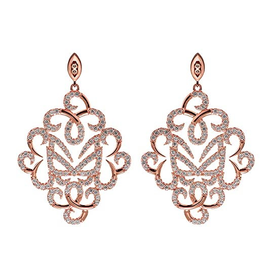 Vamp London Hidden Mask Fancy Rose Gold Cubic Zirconia Earrings