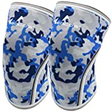 Knee Sleeves (1 Pair), 7mm Thick Compression Knee Braces Offer Strong Support for Weightlifting | Cross Training | Powerlifting | Bodybuilding | Squats | Gym and Other Sports (Blue Camo, X-Large) (Color: No2.blue Camo, Tamaño: X-Large)