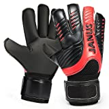 Professional Adult & Youth Latex Soccer Goalkeeper Goalie Gloves With Removable Pro Fingersaves - Sizes 6 7 8 9 10 -Unisex, Adult, Youth Soccer Goalies (Color: Black/Red, Tamaño: 6)