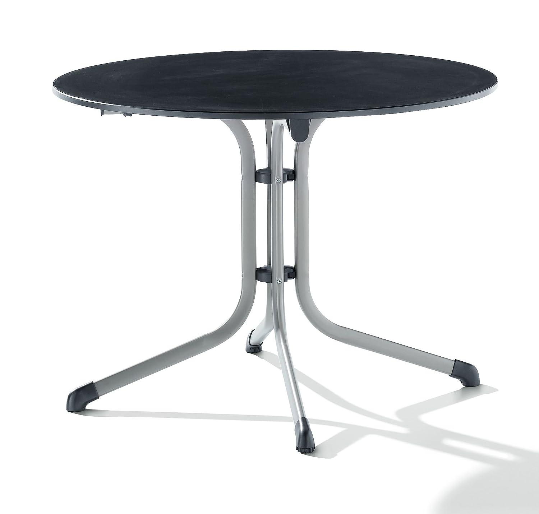 Sieger 1145-50 Boulevard-Klapptisch mit Puroplan-Platte Ø 100 cm, Stahlrohrgestell graphit, Tischplatte Schieferdekor anthrazit günstig bestellen