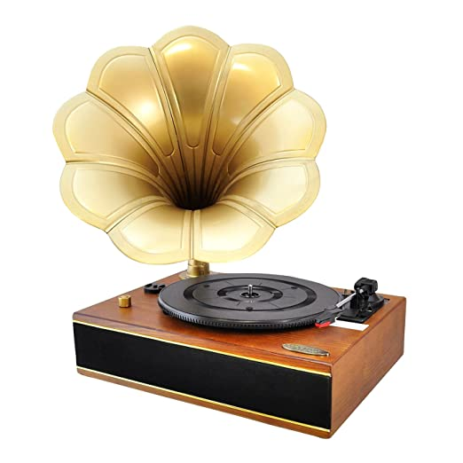 Pyle PNGTT12RBT Vintage Classic Bluetooth Turntable Gramophone Phonograph Vinyl Record Player, Vinyl-To-MP3 Recording: Electr