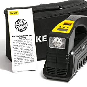 Kensun AC/DC Rapid Performance Portable Air Compressor Tire Inflator with Digital Display for Home (110V) and Car (12V) - 30 Litres/Min (Tamaño: Compact)