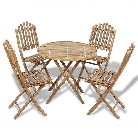 Festnight 5-tlg. Sitzgruppe Sitzgarnitur Gartenmöbel aus Bambus 1 Tisch + 4 Stuhle Faltbar