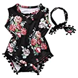 Cute Adorable Floral Romper Baby Girls Sleeveless Tassel Romper One-pieces +Headband Sunsuit Outfit Clothes (6-12 Months, Black) (Color: Black, Tamaño: 6 - 12 Months)