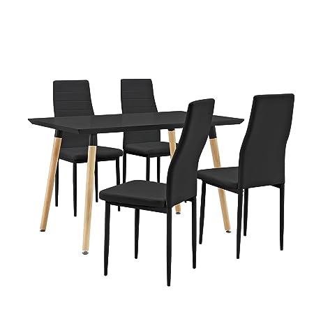 [en.casa] Mesa de comedor / mesa de cocina (120x80cm) con 4 sillas tapizadas de cuero sintético - negro - conjunto de comedor - Ahorra con este set
