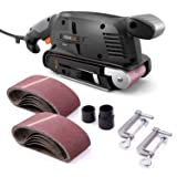 TACKLIFE Classic Belt Sander 3 ×18-Inch with 13Pcs Sanding Belts, Bench Sander with Variable-speed Control, Fixed Screw Clamps, Dust Box, Vacuum Adapters, 10Feet(3M) Length Power Cord - PSFS1A (Color: Balck+Orange, Tamaño: 3 x 18 Inch)