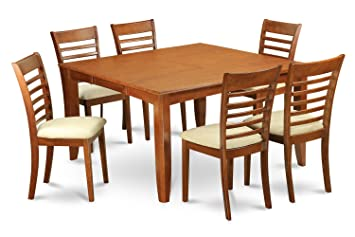 East West Furniture PFML9-SBR-C 9-Piece Formal Dining Table Set