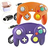 Poulep 2 Packs Classic NGC Wired Controllers for Wii Gamecube (Orange and Purple) (Color: Orange + Purple)