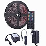 Tingkam Waterproof 5050 SMD 32.8ft (10m) RGB LED Strip Light Kit, Color Changing Black PCB Rope Lights+44-key IR Controller+ Power Supply for Home,Kitchen,Trucks,Sitting Room and Bedroom Decoration. (Color: 32.8ft (10m))