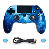 PS4 Controller Wireless Dual Shock 4 Sixaxis Gaming Joystick for Playstation 4/PS4 Pro/Slim with Led Bar, Micro USB, Multi-Touch Clickable Touch Pad (Blue) (Color: Blue)