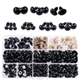 Swpeet 180Pcs Black Assorted Sizes Plastic Safety Eyes and 10 Pcs Noses Set for Doll, Puppet, Plush Animal Making and Teddy Bear (Color: Black)