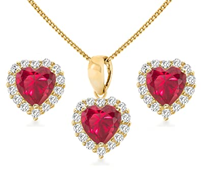 Carissima Gold 9ct Yellow Gold Red and White Cubic Zirconia Heart Earrings and Pendant on Chain of 46cm/18""