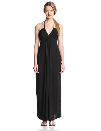 Tbags Los Angeles Women's Braided Halter Maxi Dress, Black, X-Small