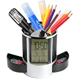 Sorive Multifunctional Pen Holder Pencil Container Digital LED Desk Clock Mesh with Calendar Timer Alarm Clock Thermometer 2 Small Drawer SRI01825(Black) (Color: Black)