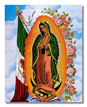 Our Lady Of Guadalupe Statue Mexican Flag Virgin Mary