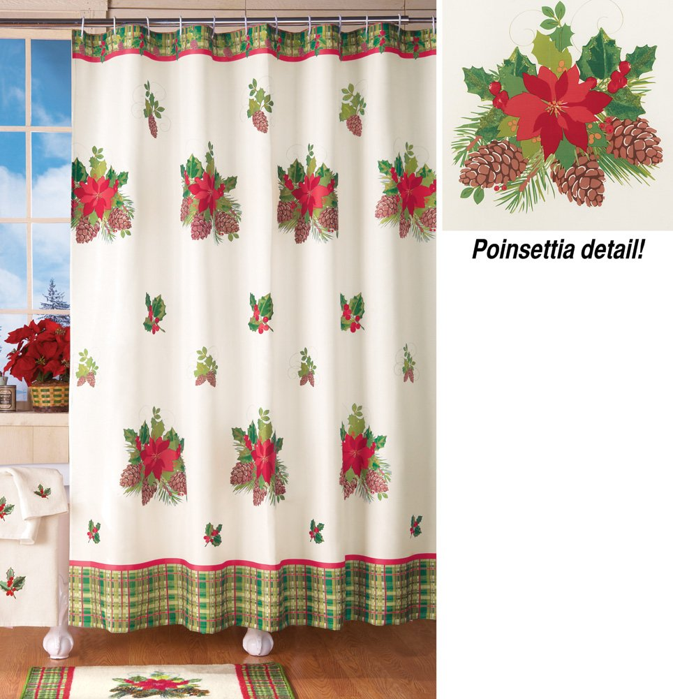 Poinsettia Flowers Pinecone Plaid Shower Curtain