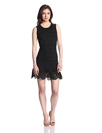 Juicy Couture Women's Ponte Sleeveless Eyelet Dress, Pitch Black, X