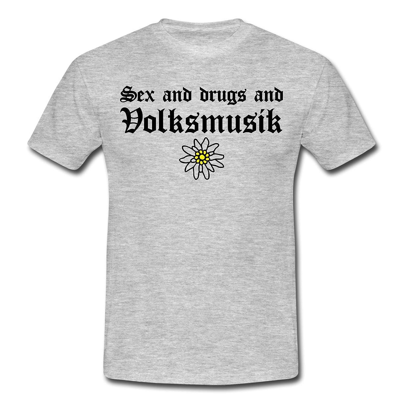 Spreadshirt Herren Sex, Drugs and Volksmusik T-Shirt günstig online kaufen