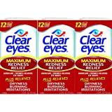 Clear Eyes Maximum Redness Relief Eye Drops-Also Relieves Drying, Burning & Irritations -.05 Ounce Per Box-3 Boxes Total (Tamaño: 3 count)