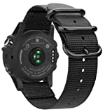 Fintie Band for Garmin Fenix 5X Plus/Fenix 3 HR Watch, 26mm Premium Woven Nylon Bands Adjustable Replacement Strap for Fenix 5X/5X Plus/3/3 HR Smartwatch - Black (Color: Black)