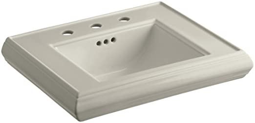"KOHLER K-2239-8-G9 Memoirs Pedestal Bathroom Sink Basin with 8"" Centers, Sandbar"