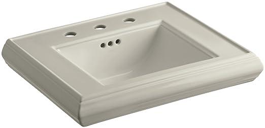 "KOHLER K-2239-8-G9 Memoirs Pedestal Bathroom Sink Basin with 8"" Centers, Sandbar"