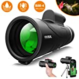 Monocular Telescope, 12X50 High Power & HD Monocular with Universal Smartphone Holder - [Upgrade] Dual Focus Optics Scope, Waterproof Scope, BAK4 Prism FMC for Bird Watching, Hunting, Camping, Hiking (Color: Black, Tamaño: 12x50)
