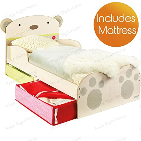 snuggletime Bear Hug Kinderbett mit Unterbettkommode Plus Schaumstoff Matratze