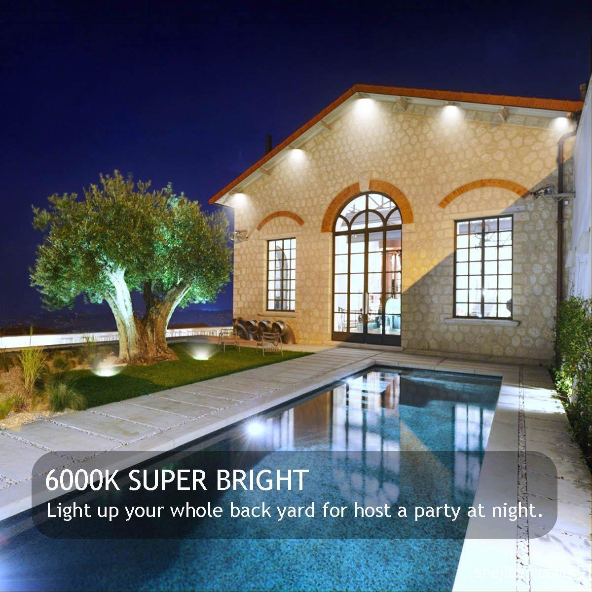 GLW 100W LED Outdoor Flood Light Super Bright,9000lm,6000K,110V,250W HPS Bulb Equivalent,Waterproof IP65 Security Work Light,US 3 Prong Plug