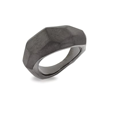 Blanc Iris Black Rhodium Plated Sterling Silver Textured Ring