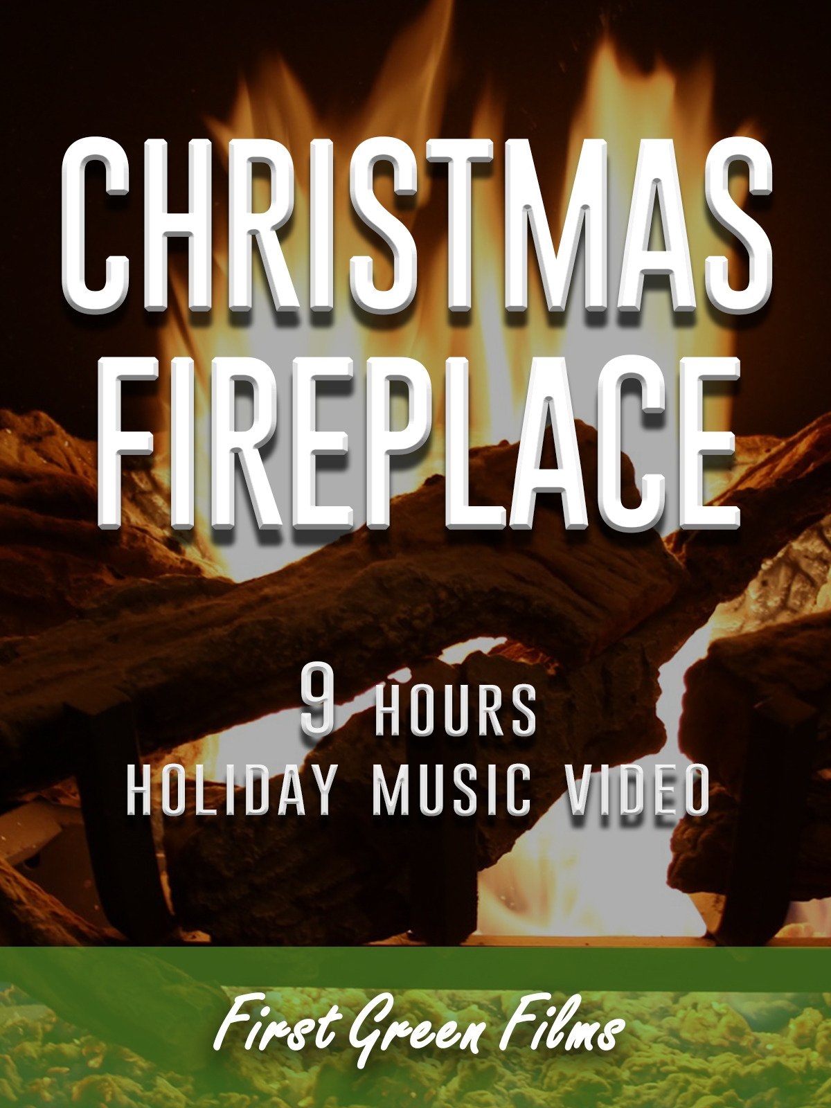 Christmas fireplace, 9 hours holiday music video