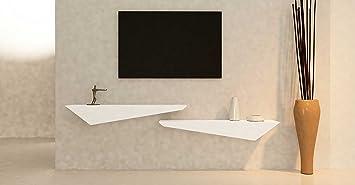 Mensola porta TV a muro e parete - legno laccato bianco opaco - sinistra 110x30