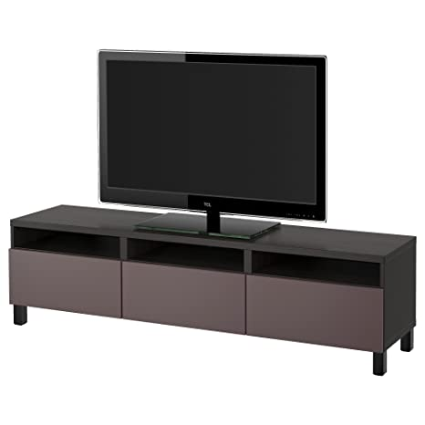 IKEA BESTA - TV bench with drawers Black-brown/valviken dark brown