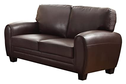 Homelegance 9734DB-2 Upholstered Loveseat, Dark Brown Bonded Leather Match