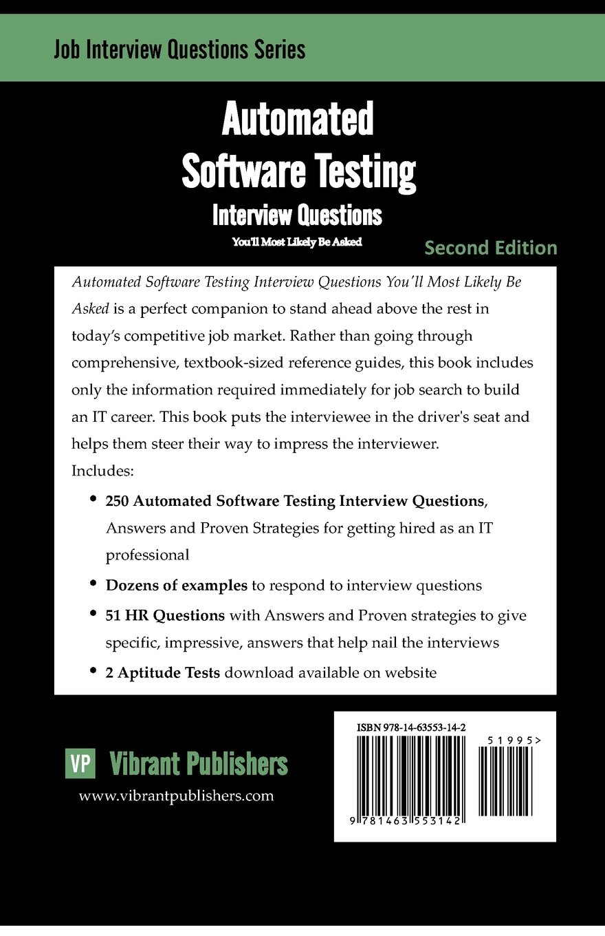 buy automated software testing interview questions you ll most buy automated software testing interview questions you ll most likely be asked job interview questions book online at low prices in automated