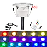 QACA Low Voltage LED Deck Lighting Kit Stainless Steel 0.2W~0.5W Waterproof Outdoor Yard Garden Decoration Lamps Landscape Pathway Patio Step Stairs RGB LED In-ground Lights, Pack of 30 (Color: Rgb(changeable), Tamaño: 30pcs)