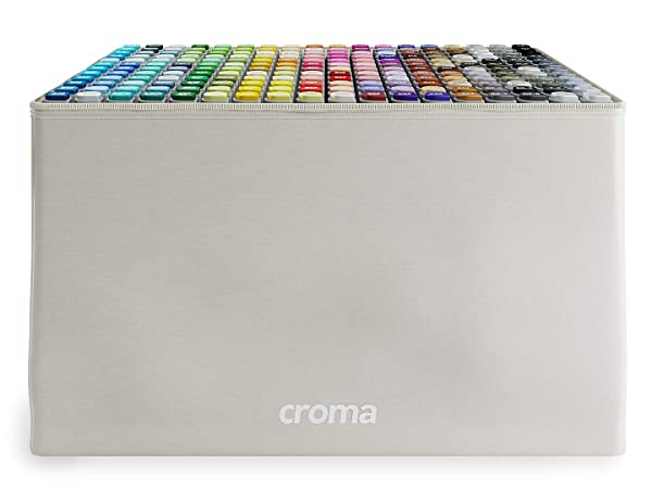 Croma Katai Fine Dual Tip Alcohol Based Sketch Markers, 216 Full Set, for Coloring Manga, Comic, Illustrations, Art, Industrial Design, Professional Artists, with Durable Portable Bag (Color: 216 Full Set)