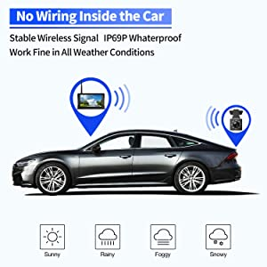 Peizeen Wireless Backup Camera with 4.3 LCD Screen HD Rear View Camera Kit Waterproof Reverse Cam Parking Lines for Cars, Minivans, SUV, MiniBus(MN04) (Color: Gray-MN04)
