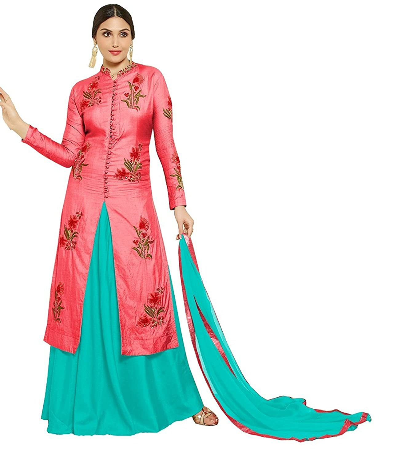 Amazon: Women's Pink Cotton Embroidered salwar suit two bottom (Salwar) @ Rs.989/-