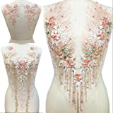 Lace Embroidered Pearl Rhinestone Patches Applique for DIY Fabric Trim Neckline Wedding Bridal Prom Dress Back Decoration (Pink, Three-Piece Suit) (Color: Pink, Tamaño: One Set)