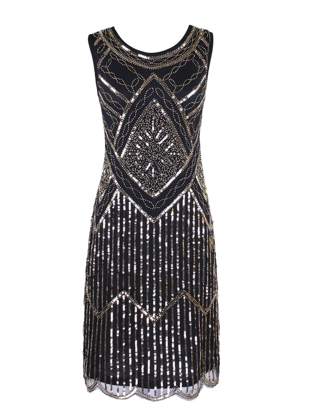 KAYAMIYA Women's 1920S Sequined Fringe Beaded Gatsby Flapper Evening Dress 0