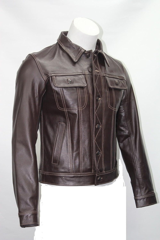 Man Braun Leichte Grain Real cow hide leather Trucker style kurze Jacke kaufen