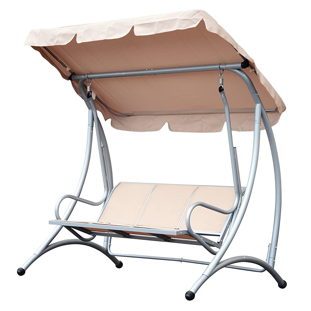 Outsunny Sling Fabric 3 Person Steel Outdoor Patio Porch Swing Chair with Adjustable Canopy Lawn -Beige