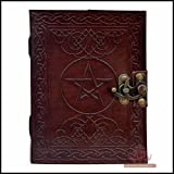 Leather Journal Book Pentagram Embossed Handmade Brown Pentacle Wicca Pagan Notebook Book of Shadows Personal Organizer Daily Planner Office Supplies Handbook 5 x 7 Inches (Color: Brown, Tamaño: Small)